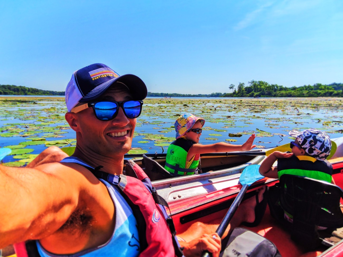 Taylor family out kayaking with Wingra Boats Madison Wisconsin 2