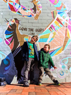 Taylor kids with street art in Marietta Square Georgia 1