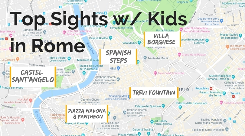 Top Sights in Rome map