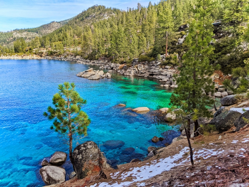 Turquoise water at Emerald Cove East Shore Trail Lake Tahoe Nevada 2020 10