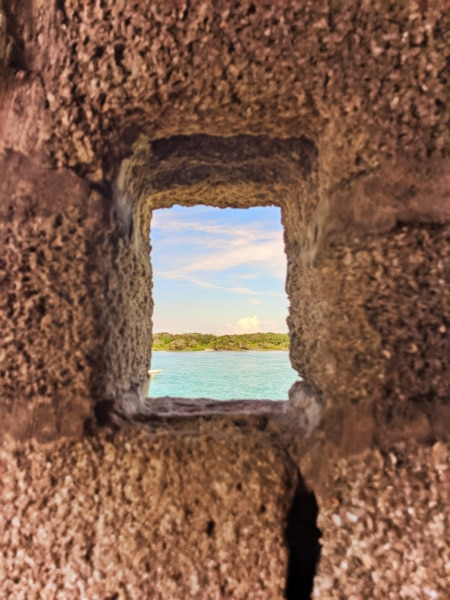 View through portal window at Fort Matanzas National Monument St Augustine FL 4