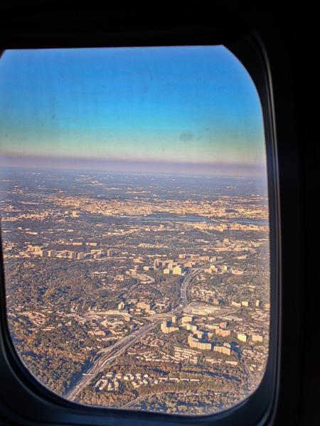 Washington DC from Airplane Window Landing at Reagan Airport 1