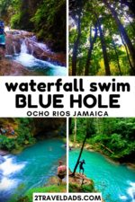 The Blue Hole in Ocho Rios, Jamaica is a great day trip or cruise excursion into the Jamaican jungle. Climbing and jumping off waterfalls, hiking along tropical rivers and swimming in turquoise jungle pools are an epic island vacation adventure. #Caribbean #cruise #hiking #jamaica