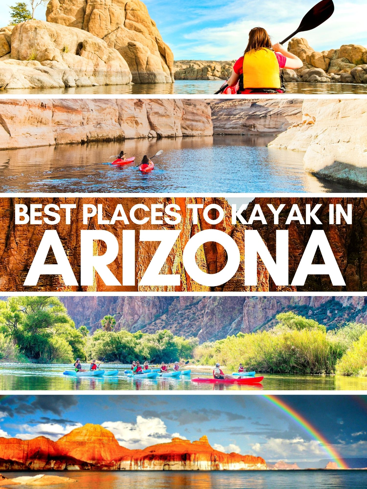 Kayaking in Arizona: beautiful, unique and a very different way to experience the most epic landscapes of the southwest. Famous sights and little known paddling spots around Arizona.