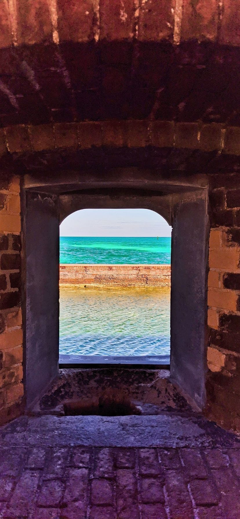 View through window at Fort Jefferson, Dry Tortugas National Park, Florida Keysa