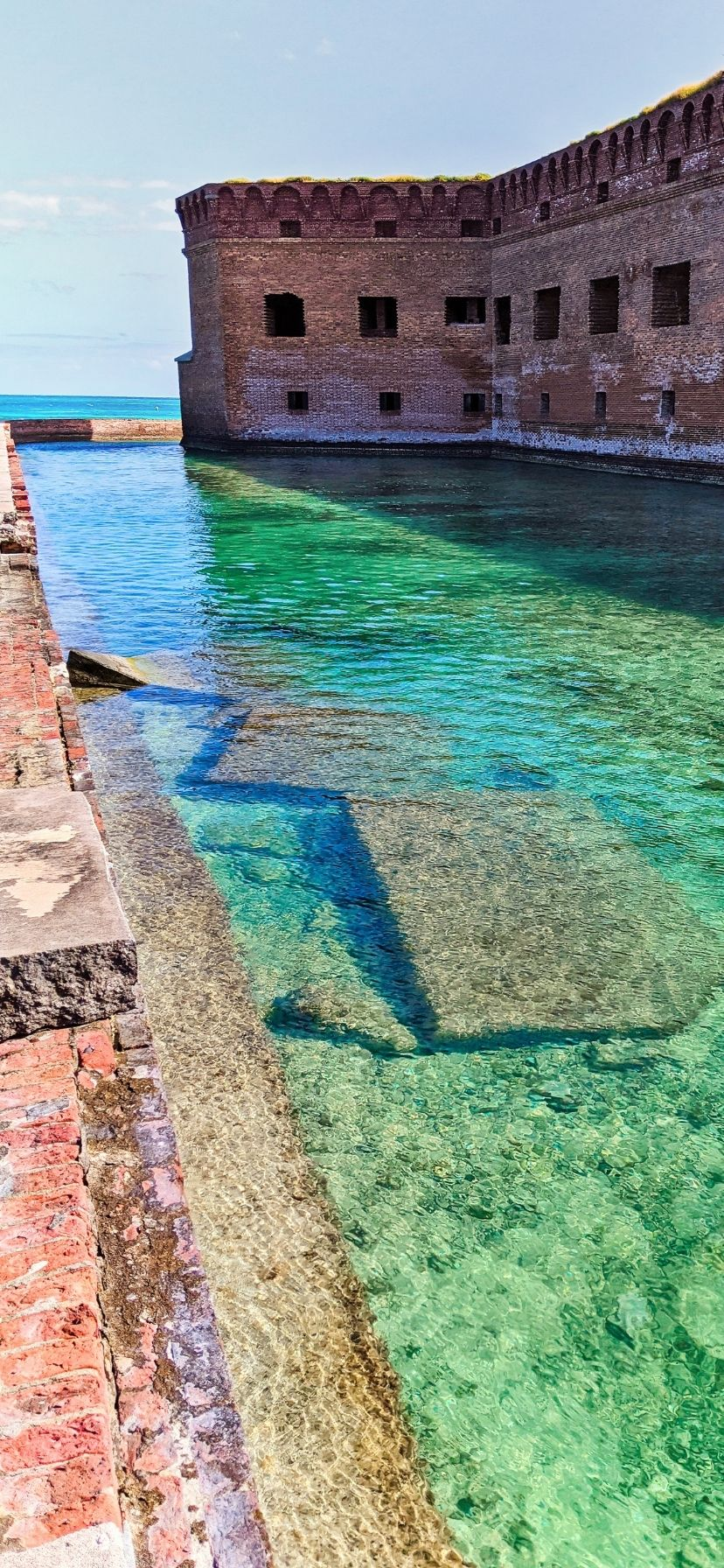 Turquoise water of moat around Fort Jefferson, Dry Tortugas National Park, Florida