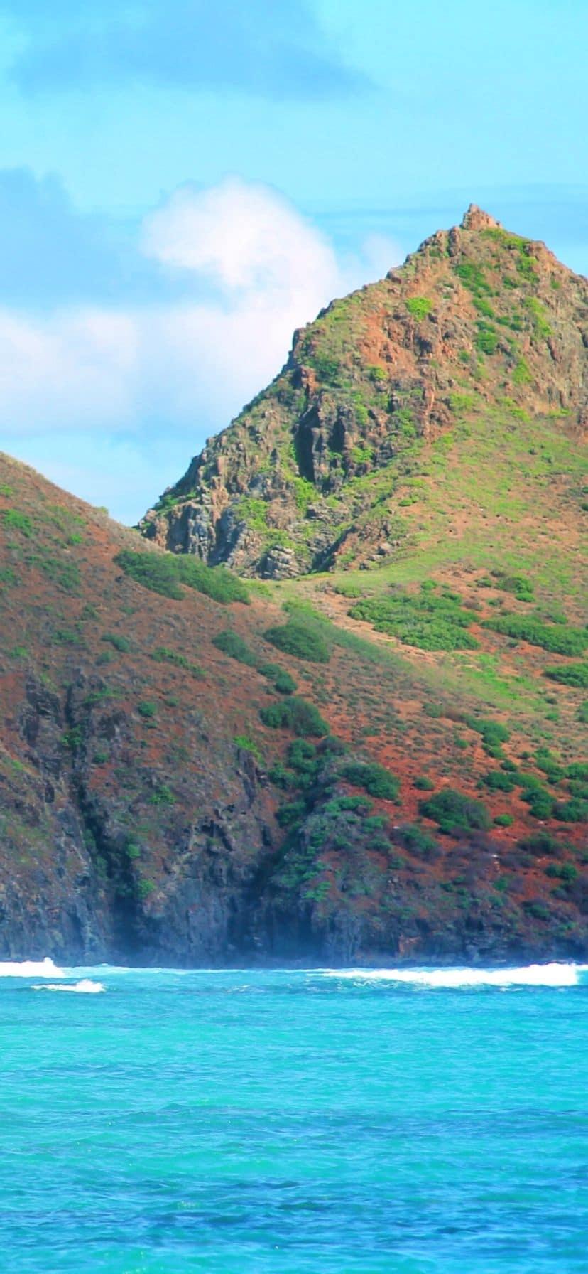 Green lush island off Lanikai, Oahu Eastern Shore