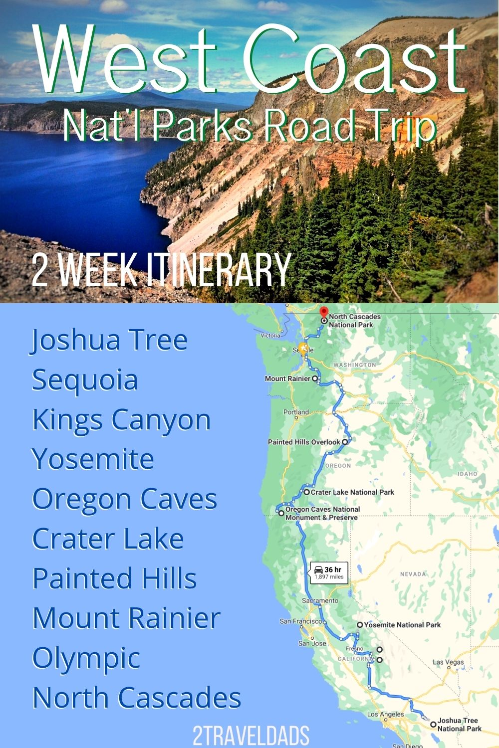 Perfect West Coast National Parks road trip plan, from Joshua Tree to Olympic National Park. Stops in the Sierras, Central Oregon, and the best of Washington State's mountains.