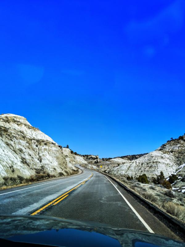 Winding road through Grand Staircase Escalante National Monument Utah 1