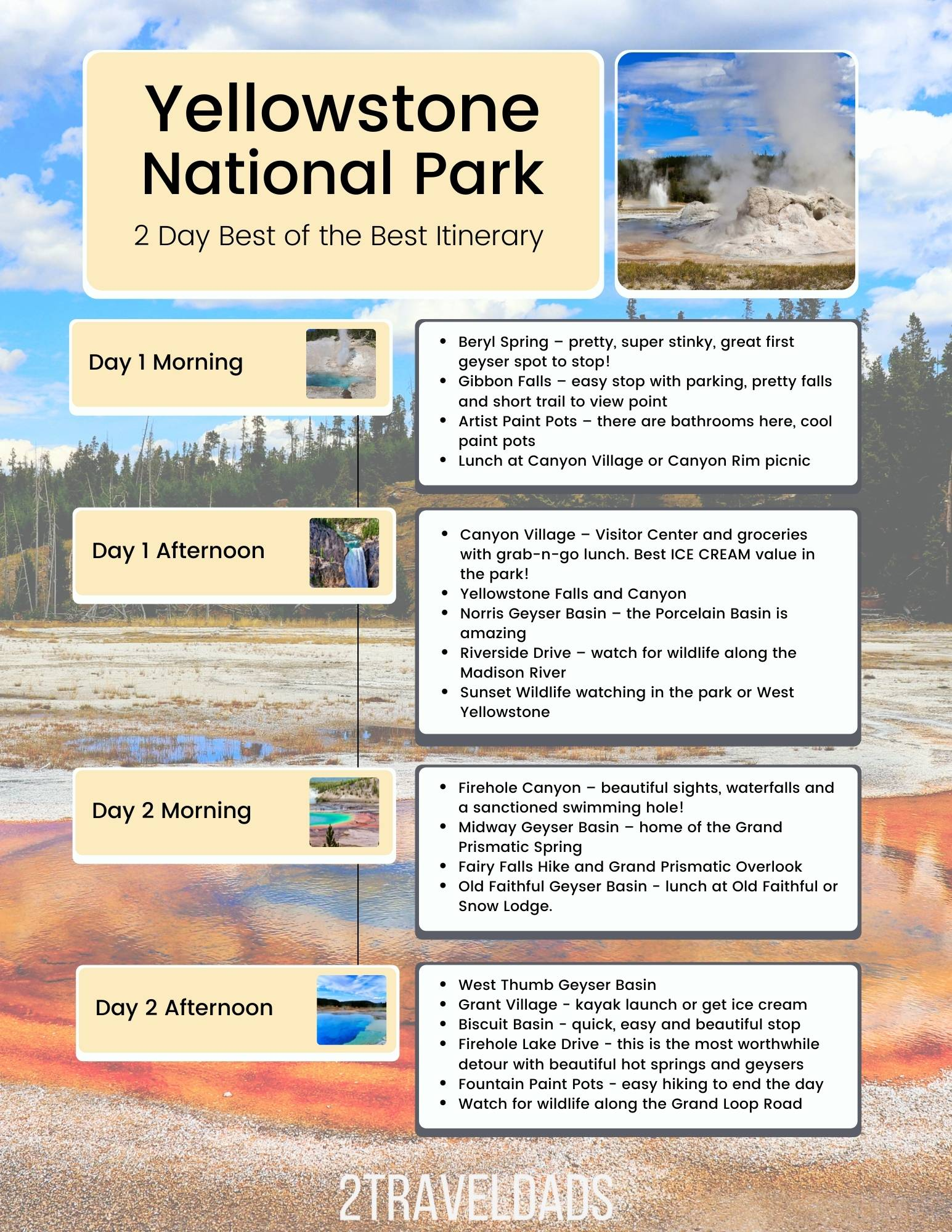 2 Day Yellowstone National Park Itinerary, the best of the best geysers and epic sights you can't miss.