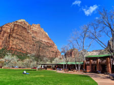 Zion Lodge with red cliffs Zion National Park Utah 1