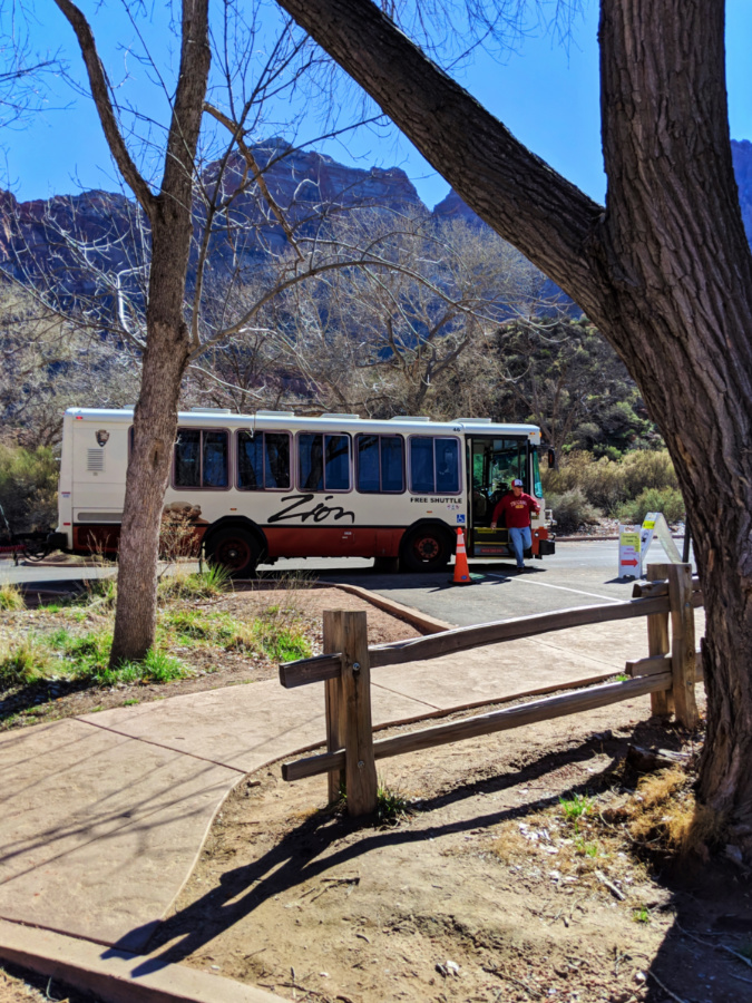 Zion National Park Shuttle at Visitor Center parking area 1